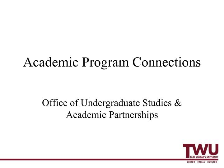 academic program connections n.