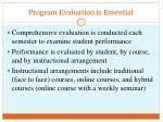 program evaluation is essential