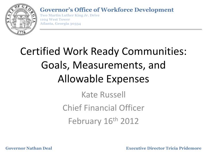 certified work ready communities goals measurements and allowable expenses n.
