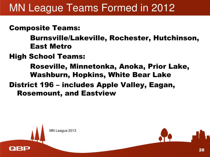 MN League Teams Formed in 2012