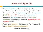 more on keywords