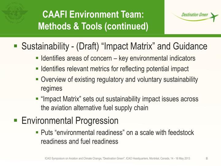CAAFI Environment Team: