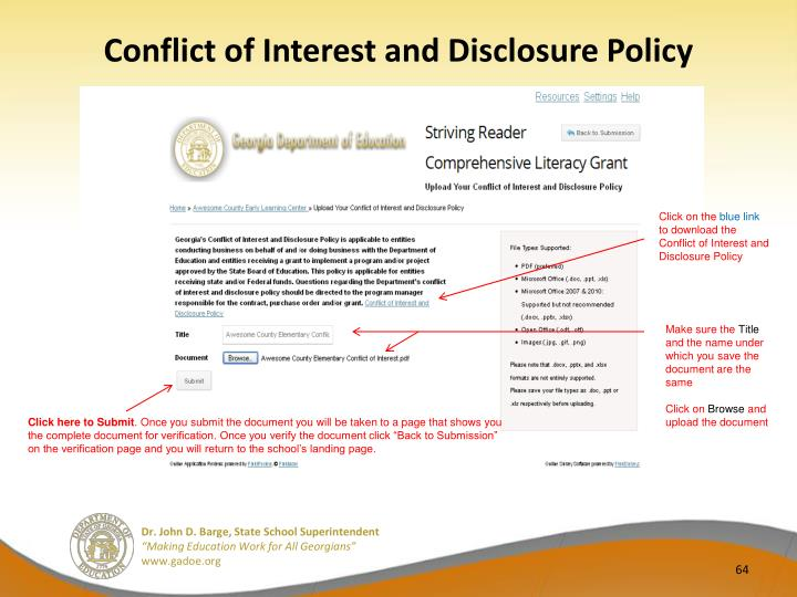 Conflict of Interest and Disclosure Policy