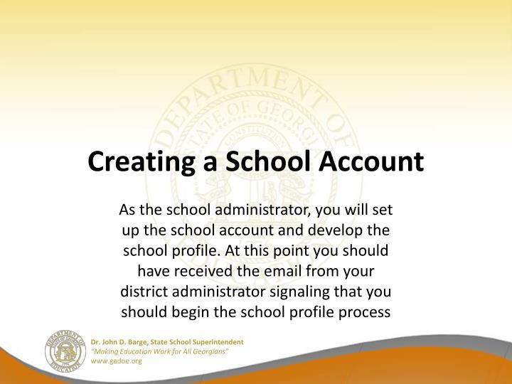 Creating a School Account