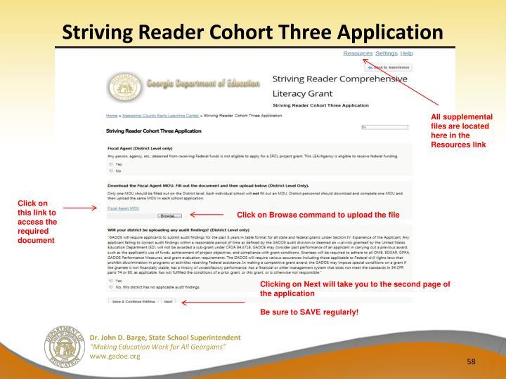 Striving Reader Cohort Three Application