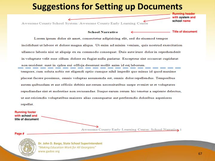 Suggestions for Setting up Documents