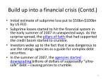 build up into a financial crisis contd