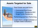 assets targeted for sale