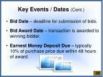 key events dates cont