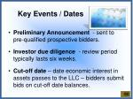 key events dates
