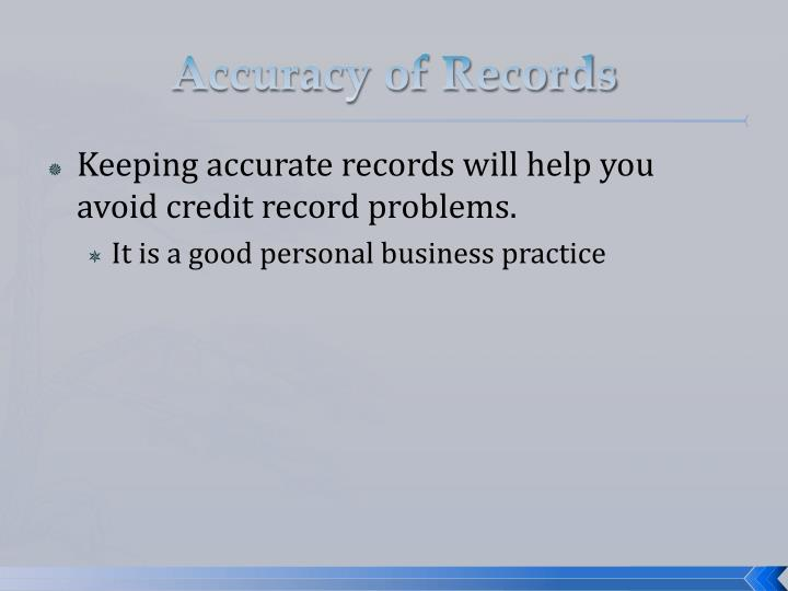 Accuracy of Records