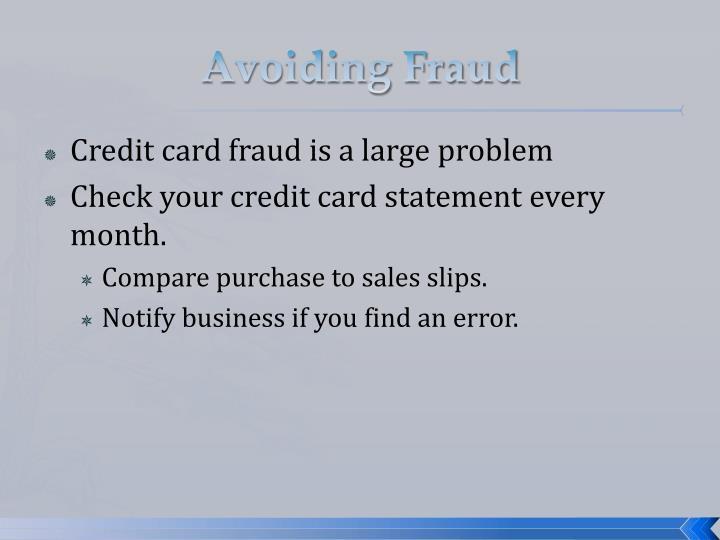 Avoiding Fraud