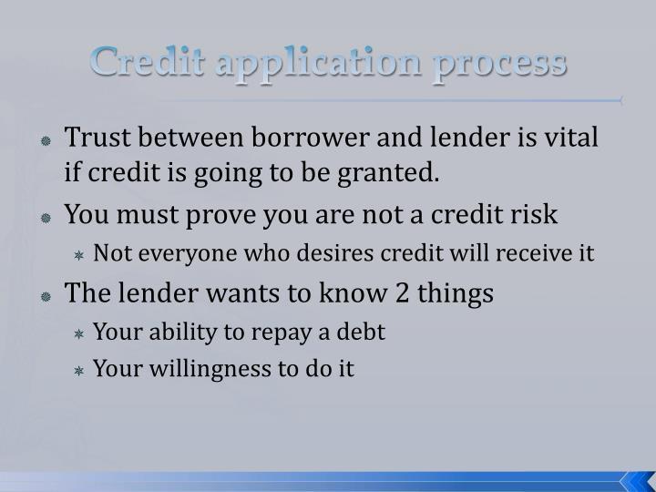 Credit application process