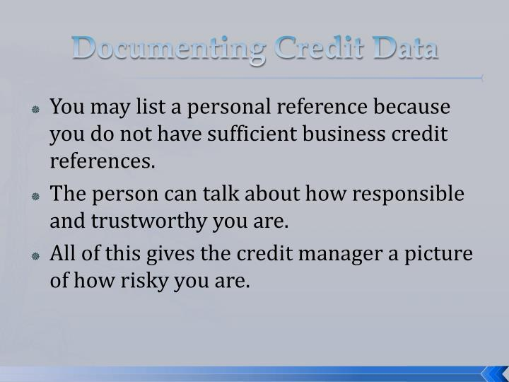 Documenting Credit Data