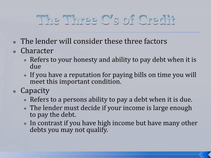 The three c s of credit