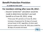 benefit protection provision as of effective date of bill2