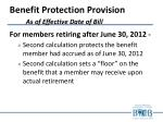 benefit protection provision as of effective date of bill3
