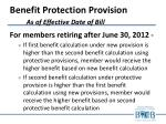benefit protection provision as of effective date of bill4