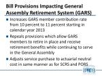 bill provisions impacting general assembly retirement system gars