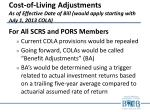 cost of living adjustments as of effective date of bill would apply starting with july 1 2013 cola