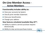 on line member access active members