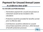 payment for unused annual leave as of effective date of bill