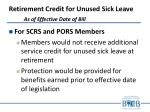 retirement credit for unused sick leave as of effective date of bill
