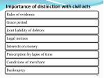 importance of distinction with civil acts