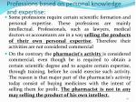 professions based on personal knowledge and expertise