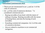 section i individual commercial acts