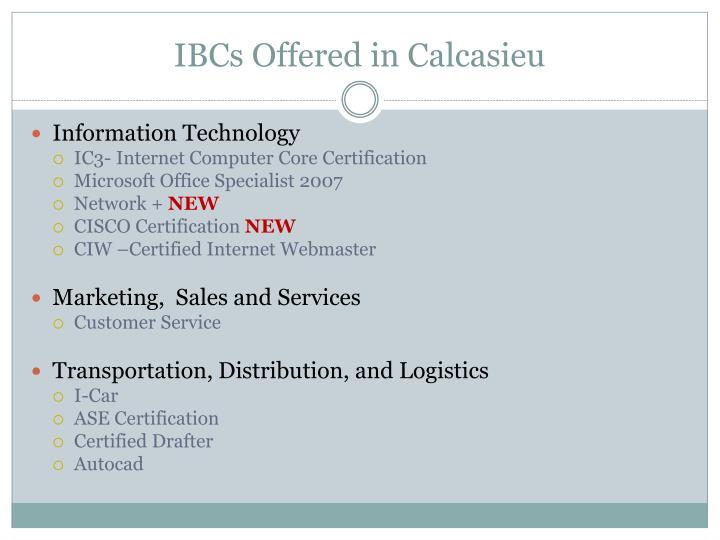 IBCs Offered in Calcasieu