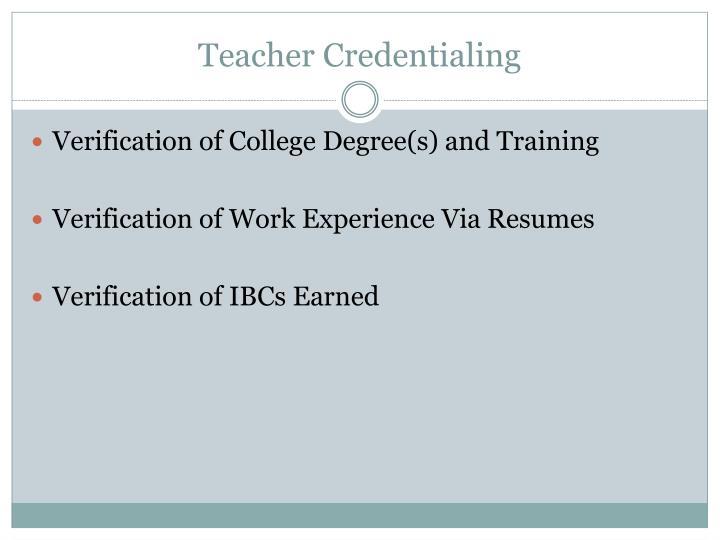 Teacher Credentialing