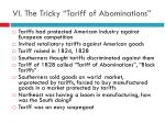 vi the tricky tariff of abominations