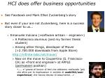 hci does offer business opportunities
