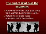 the end of wwi hurt the economy