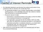 conflict of interest reminder
