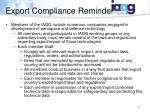 export compliance reminder