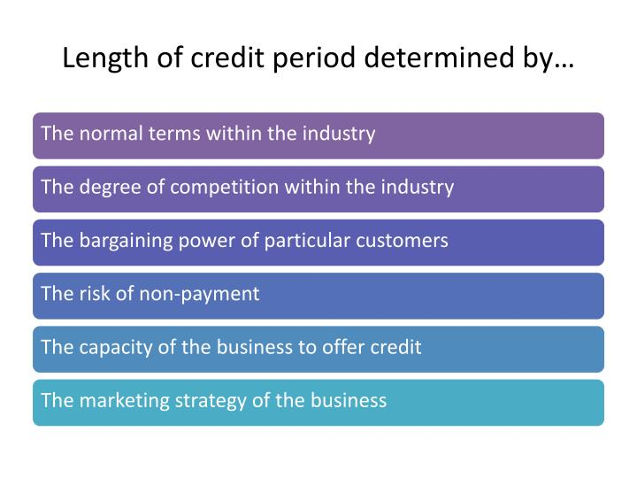 Length of credit period determined by…