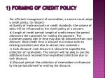 1 forming of credit policy