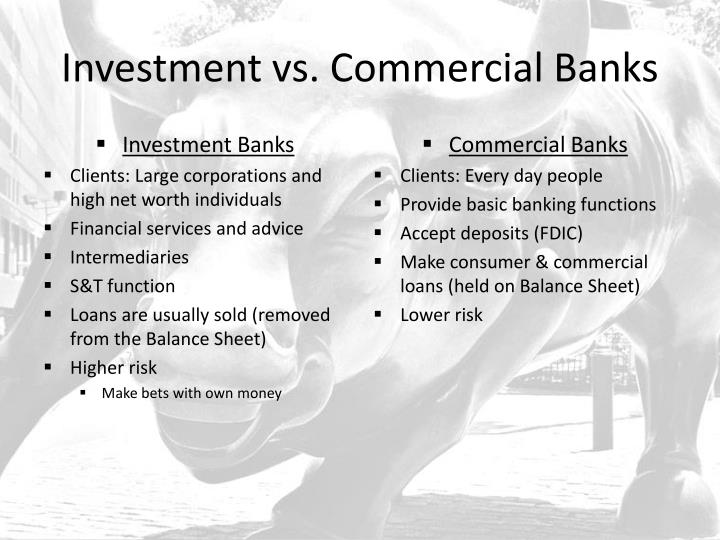 basic operations of commercial banks Banks typically require the customer to put up collateral for the loan each loan interest rate varies on the type of loan, the time period of the loan and the customer's credit history the bank uses other customers' money, including money from savings accounts, in order to loan money to its other customers.
