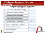 l e a d your region to success workshop