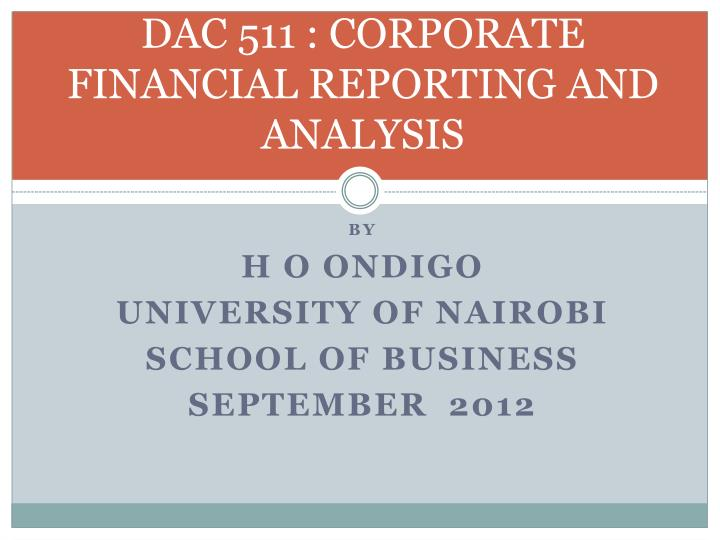 dac 511 corporate financial reporting and analysis n.