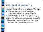 college of business style