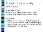 example daily or weekly publication