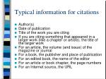 typical information for citations