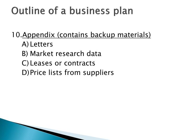 outline of a business plan One page business plan don't want to devote hours to coming up with a detailed business plan try this simple outline for a one-page plan, and the next time you run into warren buffett in an elevator, you'll be ready to pitch him your idea.