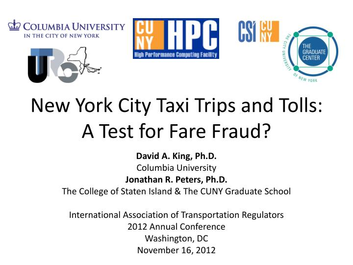 new york city taxi trips and tolls a test for fare fraud n.