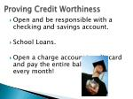 proving credit worthiness