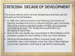 criticism decade of development