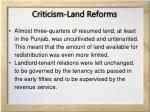 criticism land reforms